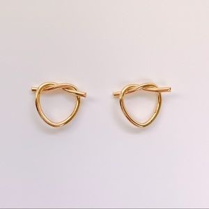 Jewelry - Knotted Gold Ear Stud Earrings Unisex 14K GF
